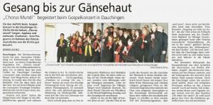 Südkurier Chorus Mundi Konzert Dauchingen am 22.11.2014